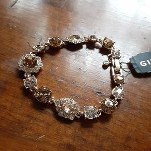 Givenchy Gold Tone Flex Gem Bracelet New